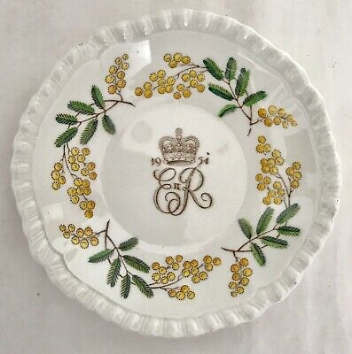 RARE Copeland SPODE QUEEN ELIZABETH II ROYAL VISIT 1954 PIN DISH WITH WATTLE
