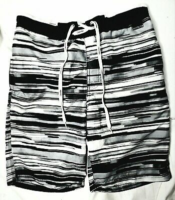 c61d68732f Mens Calvin Klein Sport Swim Board Shorts Black White Grey Stripe Size S