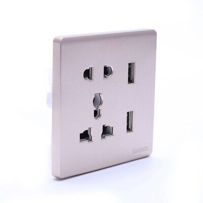 Wall Electrical 10A Universal Plug Faceplate Socket Double 2 USB Outlets Por 5U6