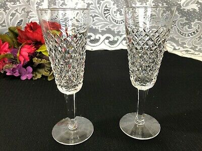 """Set of 2 Waterford Crystal """"Alana"""" Diamond Point Champagne Flutes 7 1/4"""""""