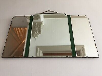 Rare Art Deco 1930s Green Tint Frameless Odeon 5 Panel Mirror LARGE 66x40cm m213