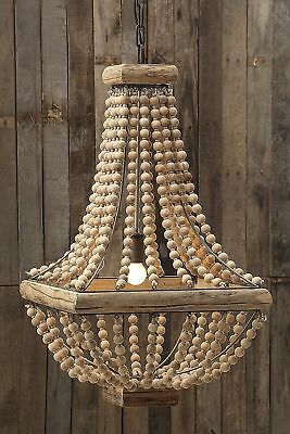 French Farmhouse Country Modern Beaded Wood Pendant Chandelier