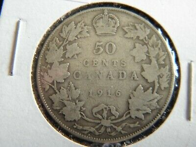 1916 Canada Sterling Silver 50 Cent Piece-George V-19-232