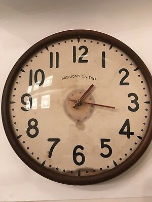 Vintage Industrial Sessions Electric Wall Clock Metal & Glass Steampunk