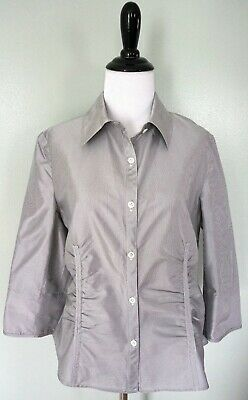 DONCASTER Collection Black White Striped 100% Silk Career Work Button Shirt 10