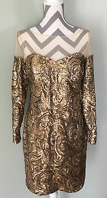 Nwt BADGLEY MISCHKA Womens Gold Sequin Formal Long Sleeve Party Dress Size 10