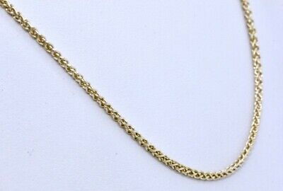 "18"" 14K Solid Yellow Gold 1.7mm Wheat Spiga Espiga Link Chain Necklace ITALY"
