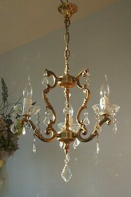 *Lovely* French Cage style Solid Brass & Glass Crystal 3 arm chandelier light