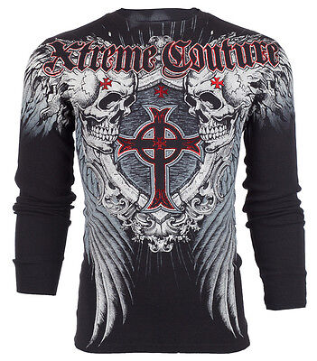 XTREME COUTURE by AFFLICTION Mens LONG SLEEVE THERMAL Shirt PULVERIZE Black $58
