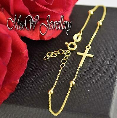 Chain Bracelet 925 Sterling Silver Gold Plated - Bracelet with CROSS and BALLS