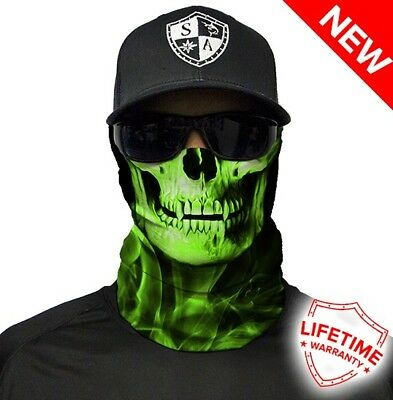 SA COMPANY Face Shield Mask MULTI-USE TUBULAR BANDANA Green Crow Skull