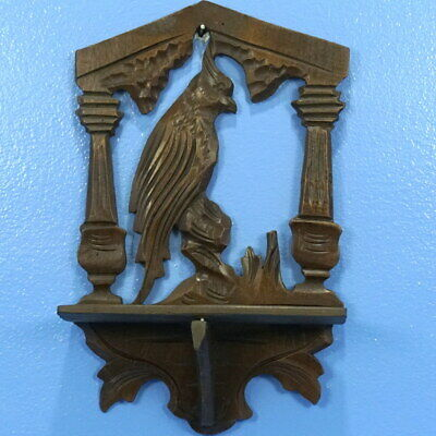 Antique Swiss Black Forest Wood Carving WALL PLAQUE SHELF Cockatiel Bird