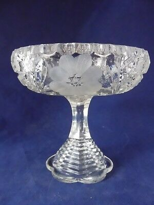 """American Brilliant tiered Pedestal Candy Dish 6 Pt Star Cut Glass Etched 4-1/2"""""""