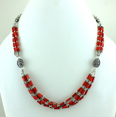 Natural Very Fine Red Coral Gemstone Beaded Beautiful Necklace 38 Grams