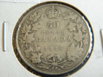1916 Canada Sterling Silver 50 Cent Piece-George V-19-246