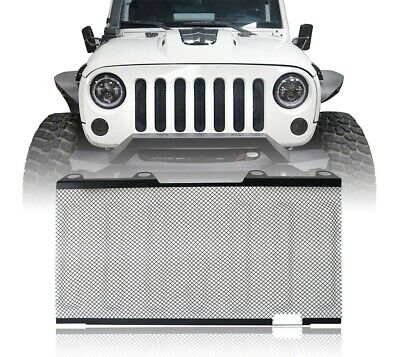 Front Mesh Grille Inserts Screen Matte Black Iron For 07-15 Jeep Wrangler JK
