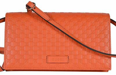 6b4b090758b NEW Gucci 466507 Orange Leather Micro GG Guccissima Crossbody Wallet Bag  Purse