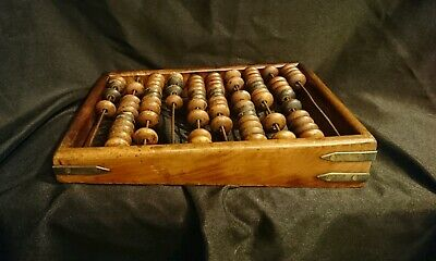 Antique Wooden And Brass Abacus. Possibly Russian
