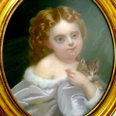 French Portrait of a Little Girl & Cat Pastel Painting Signed, Framed