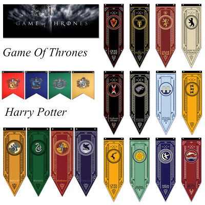 Game of Thrones/Harry Potter House Banner Flag Wall Hanging Stark Gryffindor HOT