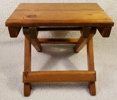 """Antique """"Moveable""""  Folding Wooden 1-Step Step Stool"""