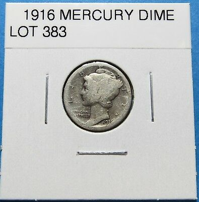 1916  Mercury Dime ~For Collection ~  90% Silver  ~ Combined Shipping Lot 383