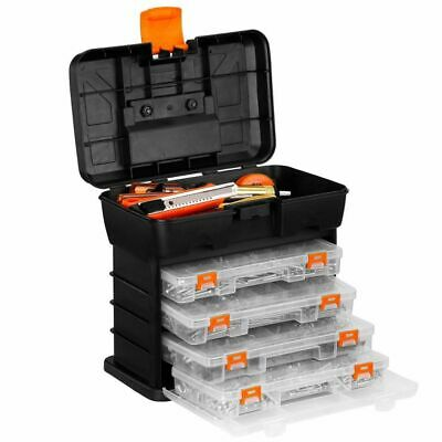 VonHaus Utility DIY Storage Tool Box Carry Case - 4 Drawers & Organiser Dividers