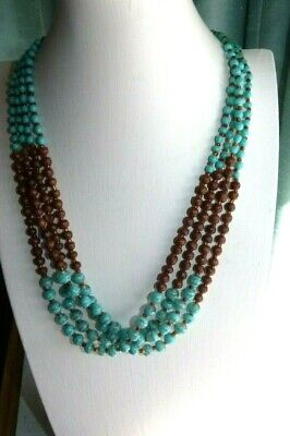 Jewellery Pretty Brown Wood & Turquoise Glass Ball Bead Necklace 722