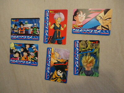 6 x Dragonball Z trading cards Banpresto 1996 made Japan