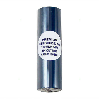 """Roll Thermal Transfer Printer Ribbon Wax Resin Ink Coated Side Out 4.33"""" x 243'"""