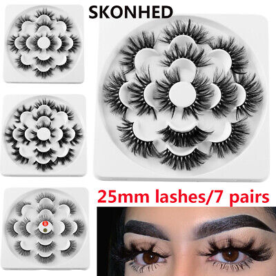 NEW SKONHED 7 Pairs 25mm 6D Mink Hair False Eyelashes Thick Wispy Fluffy Lashes