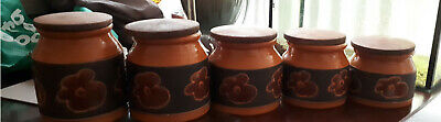 Set of 5 Vintage Pottery Kitchen Jars made by John Kemety.