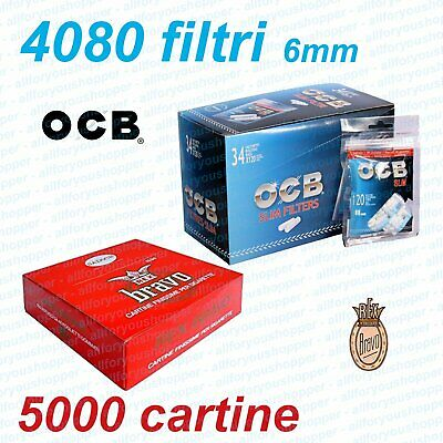 4080 FILTRI OCB SLIM 6 mm BOX 34 BUSTINE + 4000 Cartine BRAVO REX CORTE 100 Pz.
