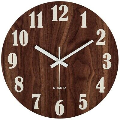 12 Inch Night Light Function Wooden Wall Clock Vintage Rustic Country Tuscan 4I5