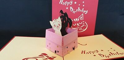 3D Pop Up Cutie Cats in a Box Card. BIRTHDAY CARD.