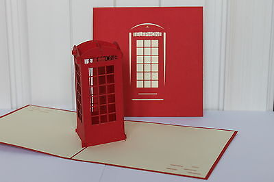 Red Telephone Box -3D Handmade Pop up Cards. All Occasions