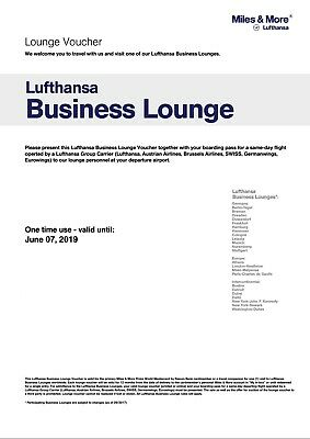 One (1) LUFTHANSA Business Lounge Club Pass All Access Class Ticket Exp. 6/2019