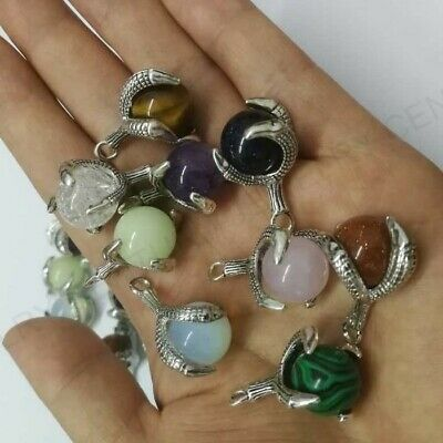 Natural Mix Agate Lapis Gem Beads Dragon Claw Wrap Charms Pendants Jewelry Makin