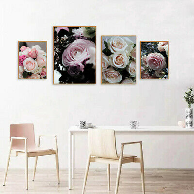 Flower Pink Rose Poster Nordic Wall Art Canvas Floral Print Living Room Decor