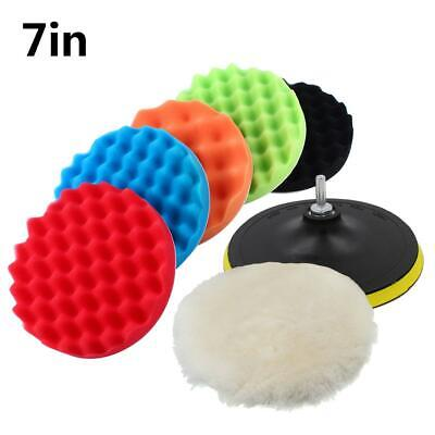 "7"" Polishing Sponge Waxing Buffing Pad Compound Auto Car Polisher Drill Kit"