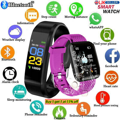 Fitness Smart Watch Activity Tracker WomenMen Kid Fitbit Android iOS Heart Rate/
