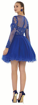 Sale ! Prom Long Sleeve Short Cocktail Semi Formal Homecoming Dress Under