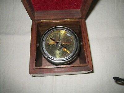 Vintage Antique Nautical Maritime Compass in Wooden Box