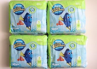 Lot of 4 - Huggies Little Swimmers 20 Ct Disposable Diapers Sz 3 Small 16-26lbs