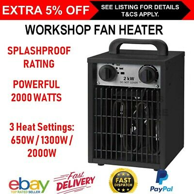 Heavy Duty 2000W Fan Heater Carpet Dryer 3 Heat Bedroom Garage Heating Heat