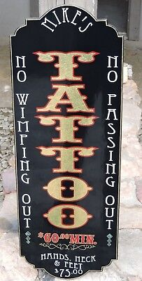 Old Fashioned, Vintage,Custom Vertical TATTOO SIGN Gold Leaf Your Name Very Nice