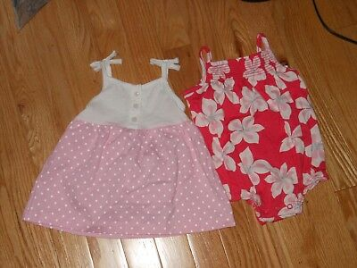 NWT - Two Carters pink, dark pink & white outfits - dress & romper - 3 mos girls