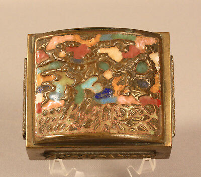 Antique Chinese Enameled Brass Box With Dragon, Buddhist Symbols