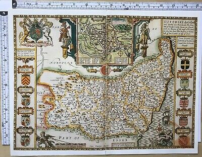 Old Antique Tudor map of Suffolk, England: Ipswich: John Speed 1600's Reprint