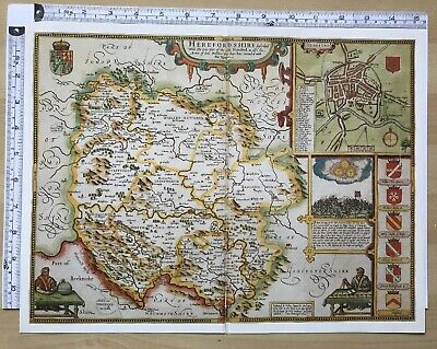 "Old Antique Tudor map Herefordshire, England: John Speed 1600's 15"" x 11 Reprint"
